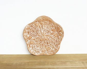 Textured Stoneware Clay Trinket Plate in Speckled Tan Glaze