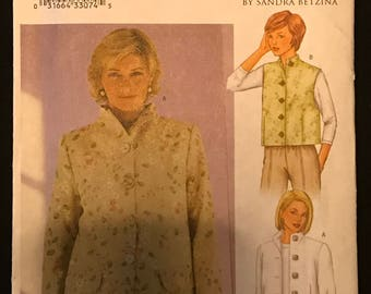 Butterick 3013 - Today's Fit by Sanda Betzina Loose Fitting Jacket or Vest with Raised Neckline - Size ABC Bust 32 34 36