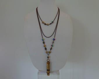 Long Boho Necklace, Long Boho Pendant Necklace, Long Beaded Chain Necklace, Long Brass Pendant Necklace, Whistle Long Boho Necklace