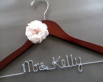 Blush Pink Bride Hanger, Personalized Hanger with a Flower, Bridal Hanger, Wedding Dress Hanger, Shower Gift, Mrs Hanger, Bride to Be Gift