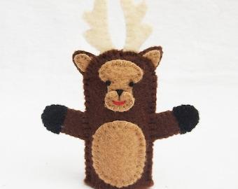 Deer, felt finger puppet, animal puppet, storytime puppet