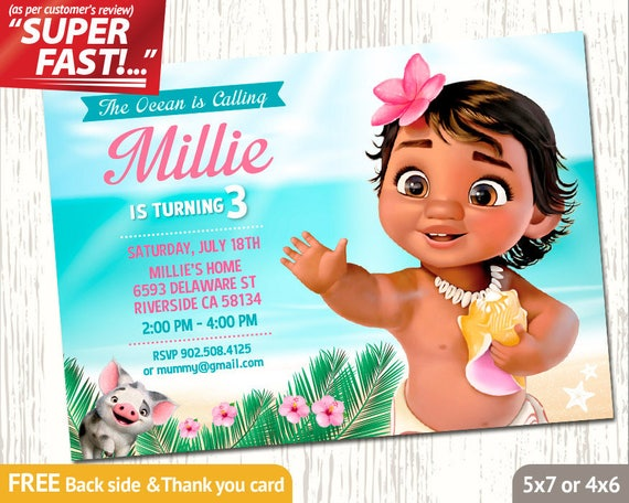 Moana Invitation PRINTABLE Moana Birthday Invitation Moana