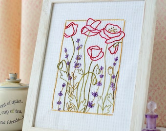 Lavender Poppy Flowers Hand Embroidery PDF Pattern