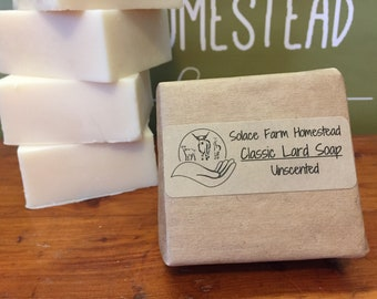 Classic Lard Soap, Unscented - old-fashioned lard soap, unscented plain lard soap, affordable soap for everyday