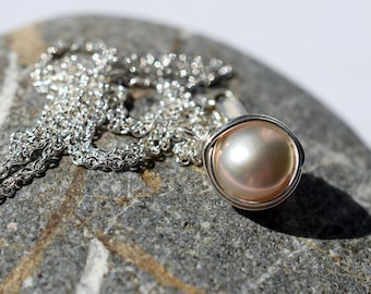 Natural Pearl Necklace, Freshwater Pearl Necklace, Sterling Silver Wire Wrapped Pearl Necklace, Single Pearl, Cream Pearl Pendant Solitaire
