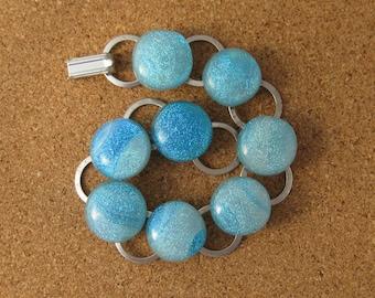 Blue Dichroic  Bracelet - Fused Glass Jewelry - Fused Glass Bracelet - Dichroic Bracelet - Link Bracelet - Chain Bracelet - Glass Bracelet