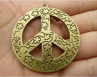3pcs 45x48mm paz bronce antiguo símbolo metal encanto pendnat c4921