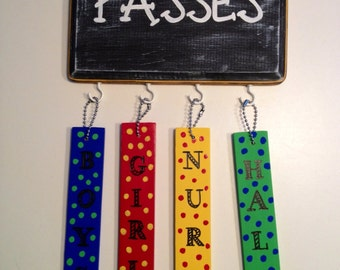 Teacher Hall Passes, Teacher Gift, Wooden Hand-Painted Hall Passes