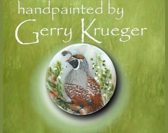 Handpainted Button - Quail