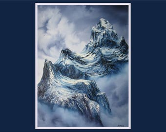 "18x24"" Original Oil Painting - Snowy Rocky Mountains Textured Wall Art"