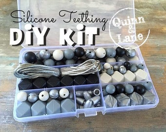 DIY Silicone Teething Kit - Silicone Beads & Supplies - Make Your Own Baby Chew Jewelry Teething Necklace - Black/Grey/Titanium/Moon (SO)