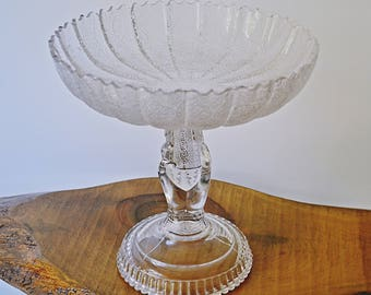 Large Glass Comport, J H Hobbs Brockunier & Co, Tree Of Life Compote, Victorian Glass Bowl