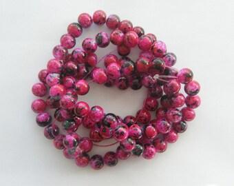 105 Wine red mottled glass  beads B155