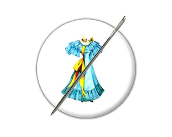 Blue Ladies Spring 1800s Dress ladies fashion needle minder magnet cross stitching sewing tool sewing notion wife gift under 10 sewers gift