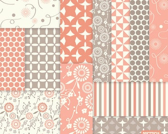 Digital Flower Background Pattern Paper Coral and Taupe  - Instant Download- Sarah Jane