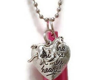 HORSE URN NECKLACE, Personalized Urn color and Charm quote, Urn Pendant, Ashes Keepsake, Memorial Jewelry, Cremation Jewelry