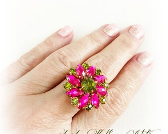 OLIVE and MAGENTA Ring