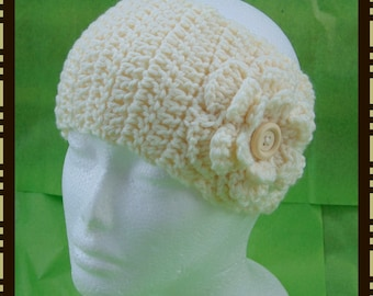 Women's Crochet Ear Warmer With Button Closure and Flower, **ANY COLOR** Headband with Button Closure and Flower, Headband, Earwarmer,