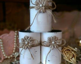Shabby Chic Painted White Tin Can Jute Paper Flower Pearl Country Wedding Rustic Centerpieces Vases Home Office Dorm Nursery Decor Gift Idea