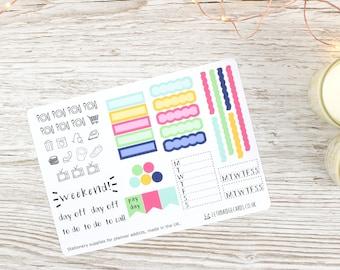 Flower Burst Hobonichi Weekly Planner Stickers; Summer Kit; Weekly Sticker Kit; Hobonichi Techo Cousin Sticker