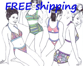 BIKINI Pattern BIK61 for Beach & Sports : FREE Shipping by Merckwaerdigh