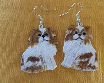 """Japanese Spaniel"" earrings made of cold porcelain"