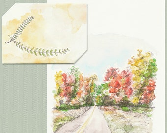 Instant Digital Download Autumn Open Road, Printable Card, Celebration Card, Red, Yellow Watercolor Card