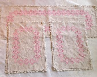 Vintage Pink Cross-Stitched 3 Pc. Dresser Vanity Scarf Set