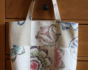 Linen Patchwork Tote Bag