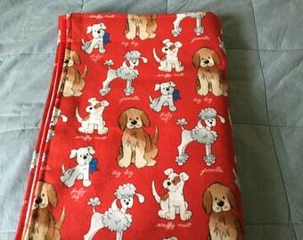 Handmade flannel pet blanket, cute dogs