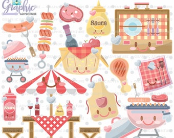 Bbq Clipart, Bbq Graphics, Commercial Use, Kawaii Clipart, Planner Accessories, Barbecue Clipart, Summer Clipart, Grill Clipart