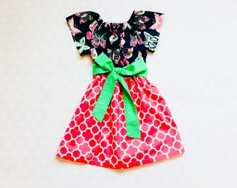 Pink and Navy Butterfly Dress - Easter Dress - Girls Spring Dress - Girls Dress - Baby Girl Dress - Girls Dresses - Butterfly Dress - Peony
