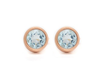 Sky Blue Topaz Stud Earrings - Gemstone POP Stud Earrings - Rose Gold Studs - Sky Blue Topaz in Rose Gold - 18k Rose Gold Vermeil - Studs
