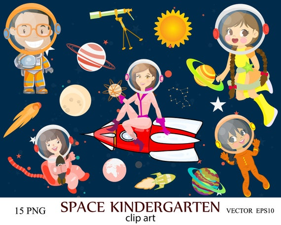 Space Kindergarten Clip Art, Space Clipart, Kids Clipart