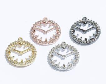 CZ Clock Pendant, Micro Pave Clock  Pendant, Clock, Charm, Pendant, Zirconia Clock Pendant, Clock Necklace, ZRC61