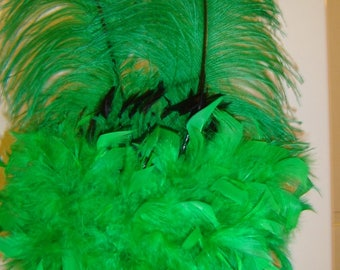 Burning Man feather Headdress crown green feather music festival showgirl headpiece unique OOAK fantasy cosplay ready to ship Rave
