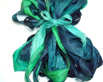 10YD. MERMAID TALES Sari Silk Ribbon Bundle//Dyed Silk Sari Ribbon Bundle//Sari Tassels,Sari Wall Decor,Sari Fiber Jewelry,Sari Tapestry