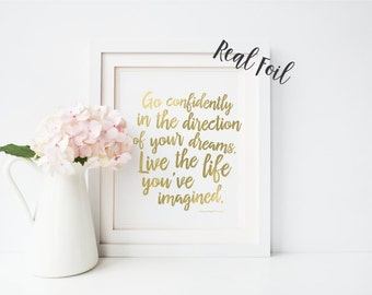 Inspirational, quote print, inspirational print, wall art, wall decor, Go Confidently in the direction of your dreams, motivational print
