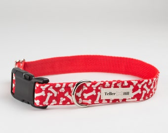 Red Bone Dog Collars for Fourth of July/Girl dog collars/Boy Dog Collars/Summer Dog Collars/New Dog Gift/Designer Dog Collar