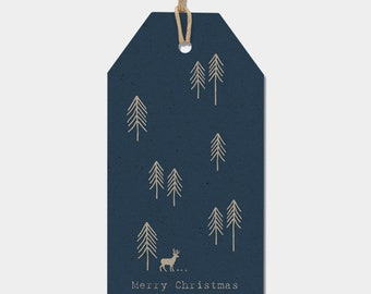 East of India Woodland Christmas Gift Tags Set of 6 NAVY