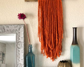 Burnt Orange Yarn Wall Hanging