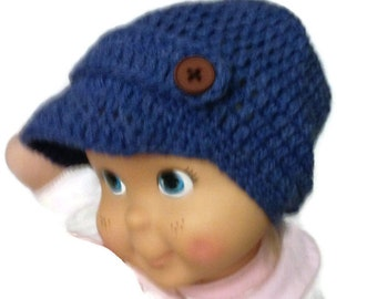 Crocheted Newsboy Hat Cap With Buttons, Handmade Ready to ship