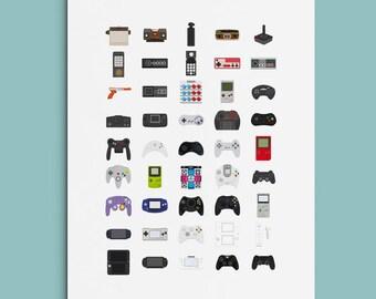 Retro Gaming poster, Boyfriend Gift, Nintendo, Sony, Playstation, Videogame poster, Gift for Gamer,  Wall Art, Sega, Gamer Poster