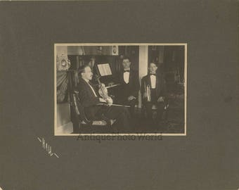 Music band trumpet piano violin antique photo