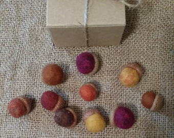 Felted Acorns / Autumn Mix / Natural Holiday Decor/ One Dozen / Gift Boxed / Ready to Ship