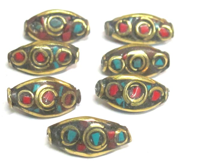 2 Beads - Rice bean shape ethnic nepal bead with circles design brass turquoise coral inlays - BD951