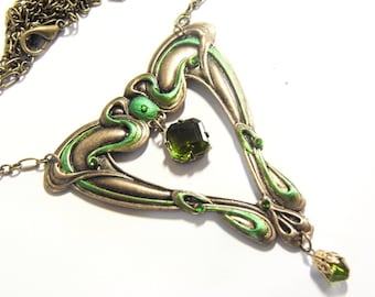 Green Art Nouveau necklace, whiplash necklace, Mucha, Victorian jewellery, Art Nouveau pendant, handpainted jewellery, peridot crystal