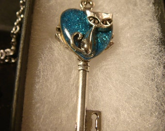 Cat Heart Key Necklace in Antique Silver- Blue Glitter Background (2510)