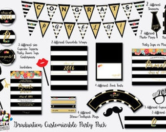 Graduation Party, Bridal Shower,  Black and White Party, Floral, Black and White Stripe, Roses, Gold, Floral Bridal Brunch