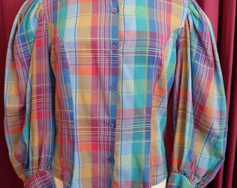 1980s Checked Blouse (2840)